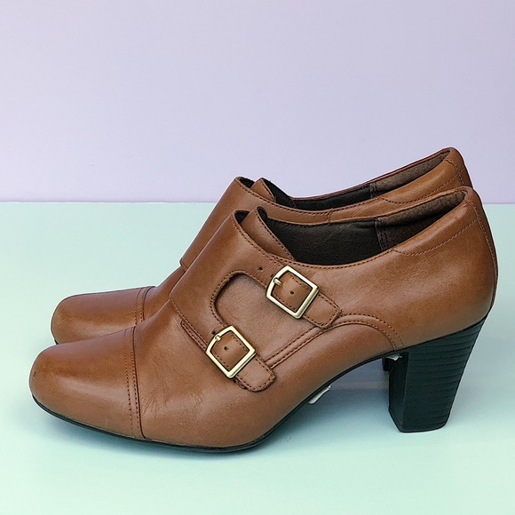 3bda4241fd4e9 Clarks Shoes - Clarks Brown Double-buckle Heeled Booties